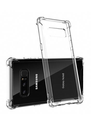 MobilCadde Dafoni Hummer Samsung Galaxy Note 8 Ultra Koruma Silikon Kenarlı Şeffaf Kılıf Renkli